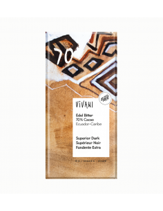 Chocolate negro orgánico superior 70% cacao Ecuador-Caribe Vivani