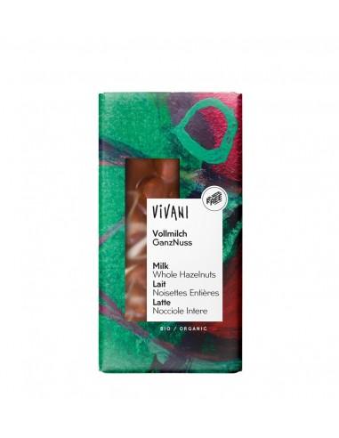 Chocolate orgánico con lecha y avellanas enteras Vivani