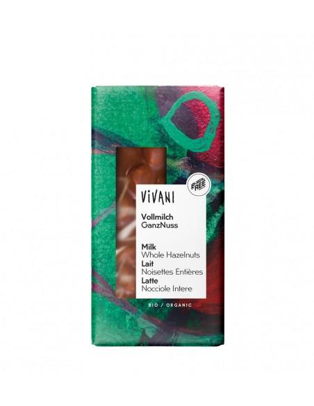 Chocolate orgánico con leche y avellanas enteras Vivani