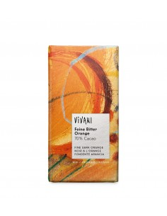 Chocolate orgánico 70% cacao República Dominicana con naranja Vivani