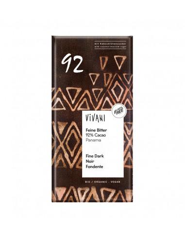 Chocolate negro orgánico 92% cacao Panamá Vivani